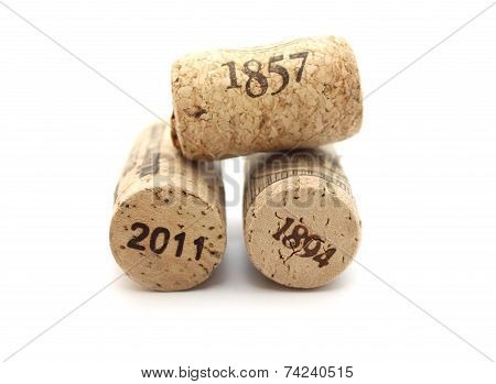 bottle corks with dates isolated on white background