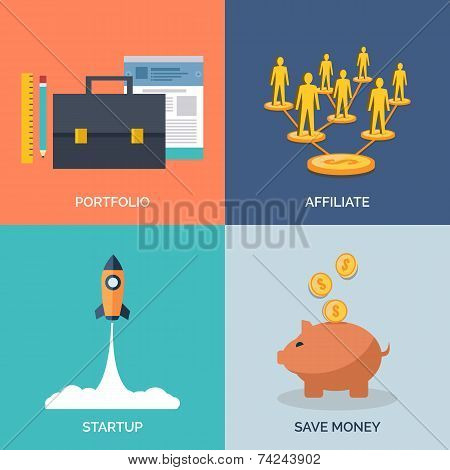 Set Of Flat Design Concept Icons For Business.