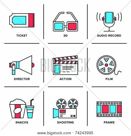 Cinema And Movies Line Icons Set