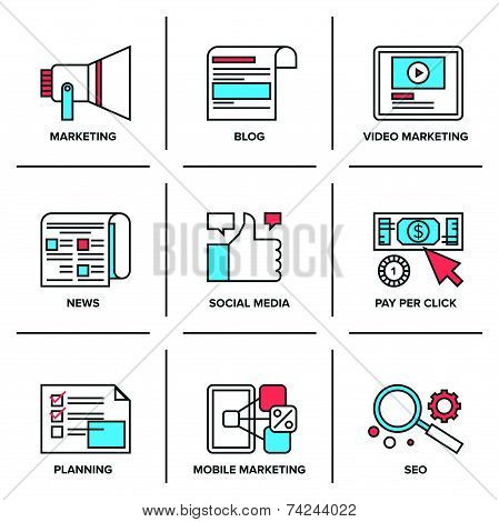 Digital And Social Media Marketing Line Icons Set