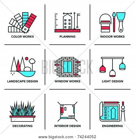 Interior And Landscape Design Line Icons Set