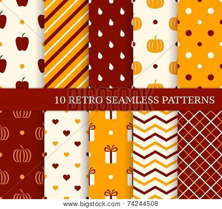 10 Retro Different Seamless Patterns. Autumn Theme.