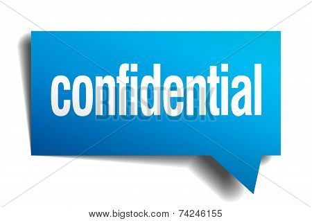 Confidential Blue 3D Realistic Paper Speech Bubble