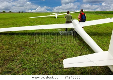 Gliders Waiting To Go Into The Air