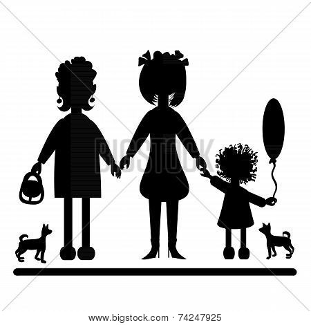 Silhouettes Of Women And Dogs.