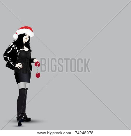 Vector Fetish Santa Girl with handcuffs