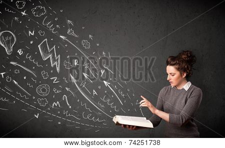 Young woman reading a book while hand drawn sketches coming out of the book