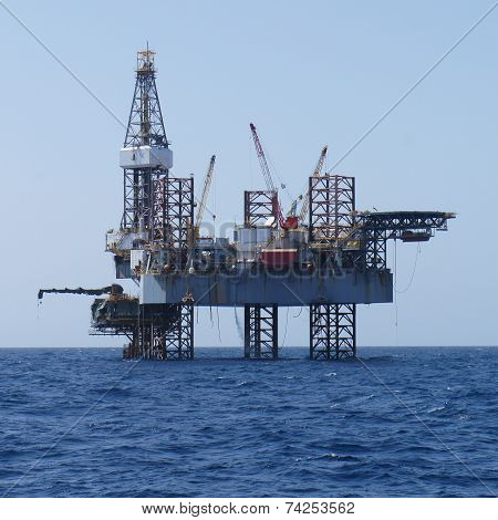 Offshore Jack Up Rig And The Production Platform