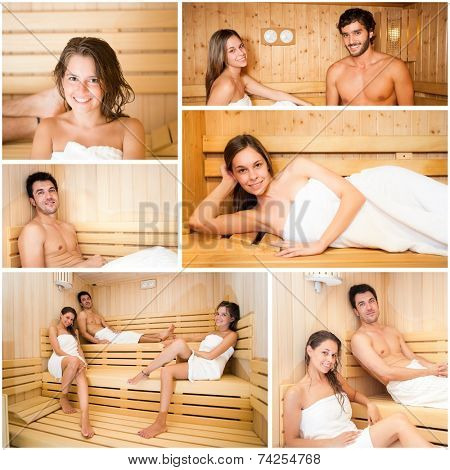 Collage of people relaxing in a sauna