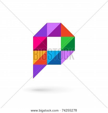 Letter P Speech Bubble Mosaic Logo Icon Design Template Elements