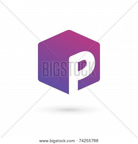 Letter P Cube Logo Icon Design Template Elements