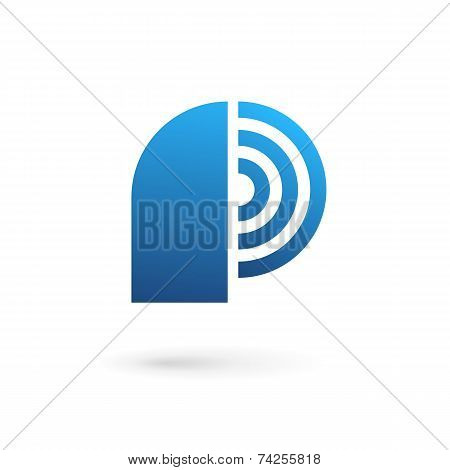 Letter P Wireless Logo Icon Design Template Elements
