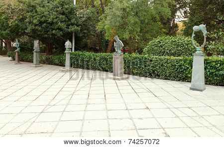 Bronze Sculptures On The Humor Alley In Yalta