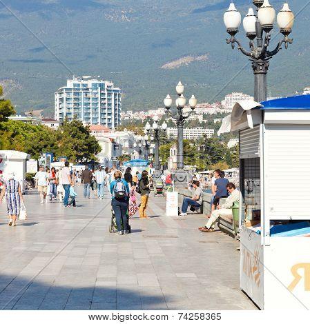 People Walking On Promenade In Yalta City