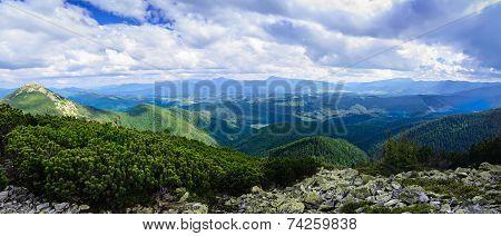 Carpathian mountain landscape panorama