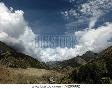 Dry Landscape Of A Himalayan Valley