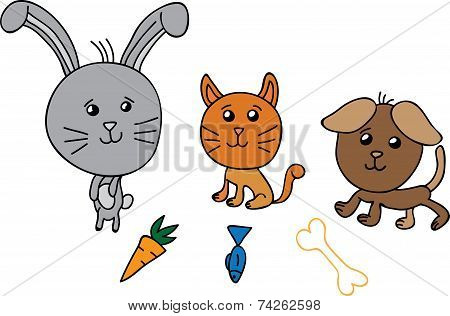Cute group animals vector illustration