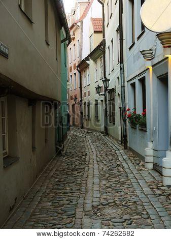 Narrow Street In The Old Riga City, Latvia. In 2014