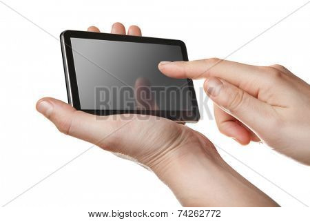 small tablet pc with touch screen in hands isolated on white