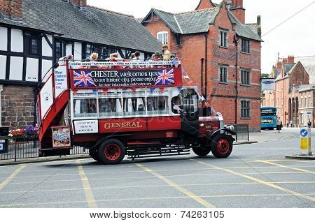 Old fashioned tour bus, Chester.