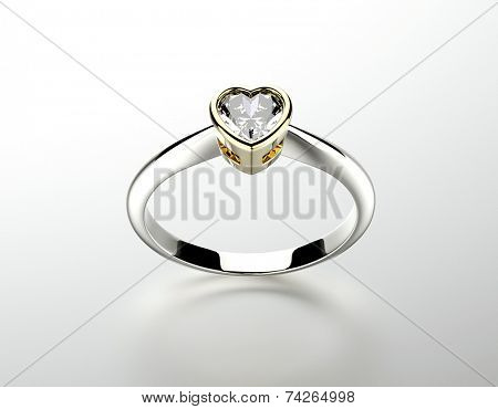 Golden Engagement Ring with heart shape  Diamond. Jewelry background