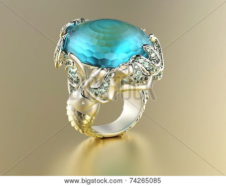 Golden Engagement Ring with Blue topaz or aquamarine. Jewelry background