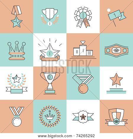 Award icons set flat line