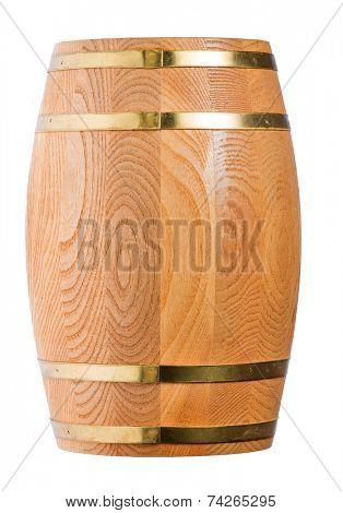 single wood cask isolated on white background