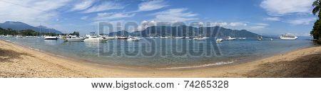 Panoramic view of Saco da Capela beach in Ilhabela - Brazil