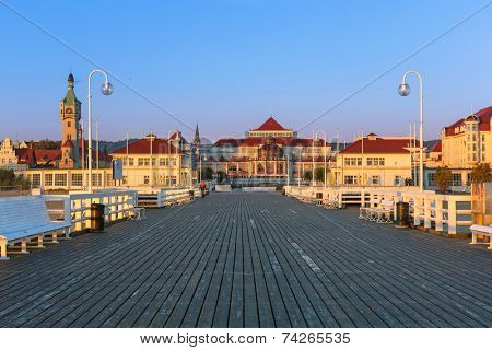 SOPOT, POLAND - 4 OCTOBER 2014: Baltic architecture at the pier in Sopot. Sopot is major health and tourist resort destination and this pier with 511.5 meters long is the longest wooden pier in Europe