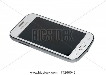 MOSCOW, RUSSIA - OCTOBER 19, 2014: Photo of a Samsung Android smartphone