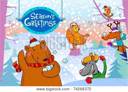 Seasonal greetings, illustration of cute animals playing  snowballs.