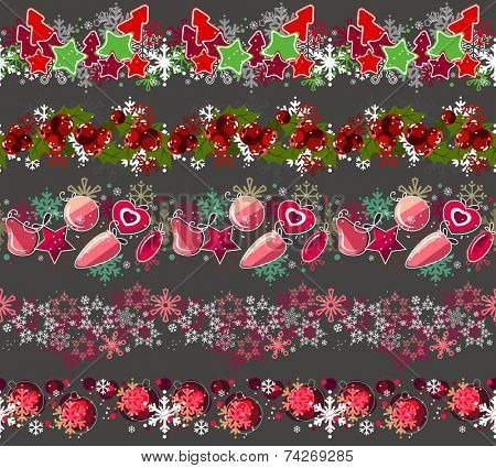 Big collection of different seamless christmas borders.  Endless texture can be used for horizontal wallpaper, pattern fills, christmas invitations and greeting cards.Vector illustration