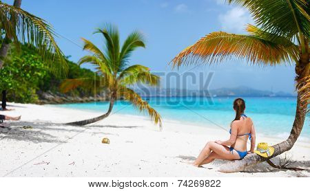 Back view of a young beautiful woman sitting on palm tree relaxing at white sand tropical beach