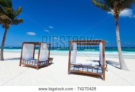 Beach beds among palm trees at Caribbean coast