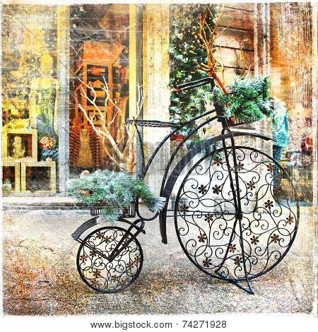 vintage bike , christmas decoration in street, retro styled pictu