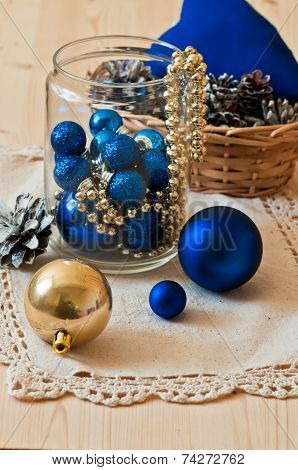 Blue And Gold Christmas Decorative Balls In Glass Jar