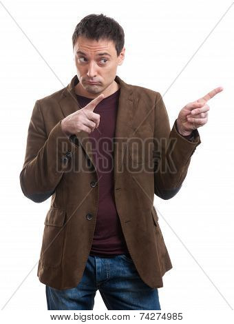 Man Pointing With Bouth Hands To The Copy Space
