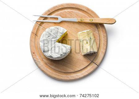 top view of blue cheese on cutting board