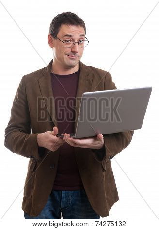 Man With Laptop Smirking