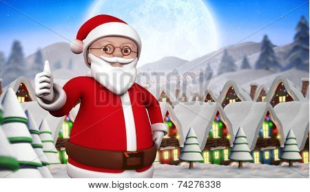 Cute cartoon santa claus against quaint town with bright moon