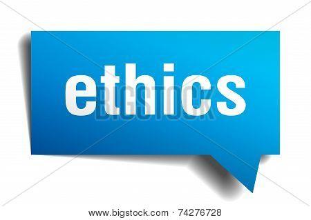 Ethics Blue 3D Realistic Paper Speech Bubble