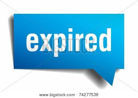 Expired Blue 3D Realistic Paper Speech Bubble