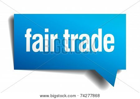 Fair Trade Blue 3D Realistic Paper Speech Bubble