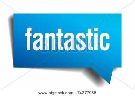 Fantastic Blue 3D Realistic Paper Speech Bubble