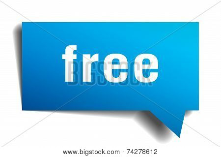 Free Blue 3D Realistic Paper Speech Bubble