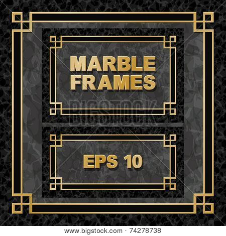 Black Marble Backgrounds with Gold Frames, Borders - 3 Aspect Ratios 1:1 3:2 2:1 - EPS 10
