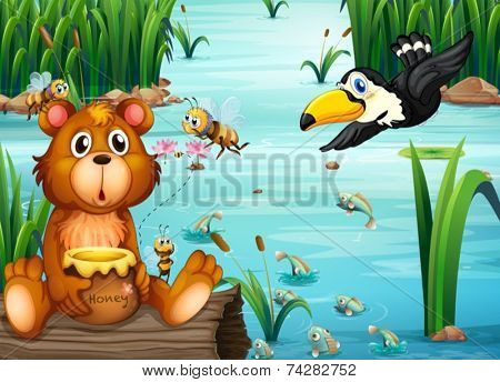 Illustration of a bear sitting on a log with a pelican