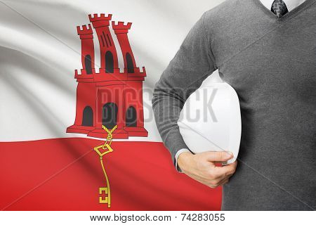 Engineer With Flag On Background - Gibraltar