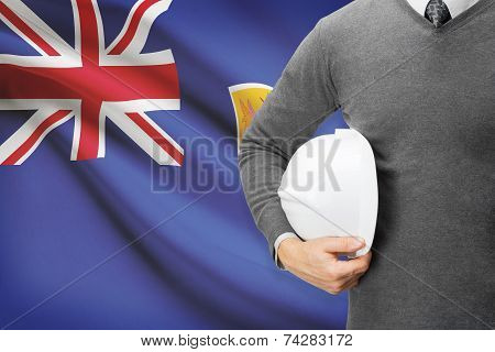 Engineer With Flag On Background - Turks And Caicos Islands